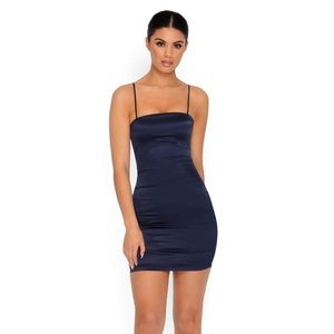 Navy satin Oh Polly Dress